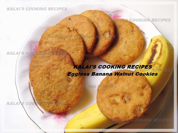 Delicious Crispy Egg-less Morris Banana and Walnut Cookies Recipe