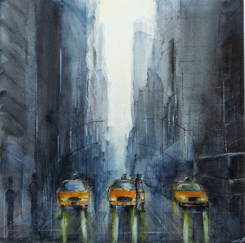 aquarelle New York Pluie Taxis jaunes