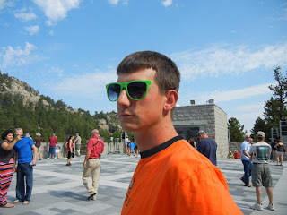 Sky with broken glasses at Mount Rushmore Memorial in South Dakota