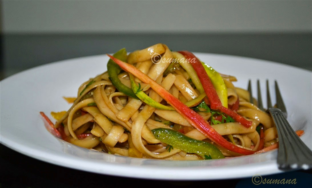 healthy udon strap noodles salad recipe