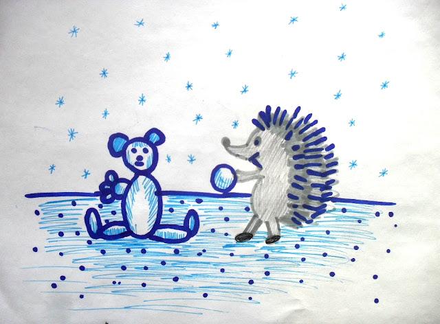 Ёжик и Медвежонок – иллюстрация к сказке. Автор рисунка: Мазер Есения