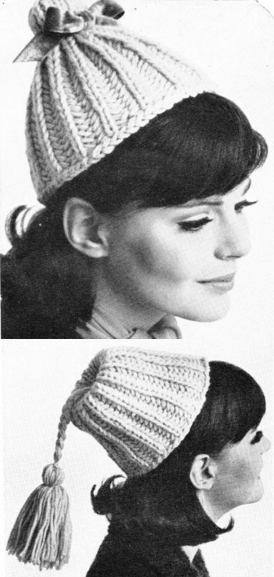 The Vintage Pattern Files Free 1960's Knitting Pattern Two-Way Hat