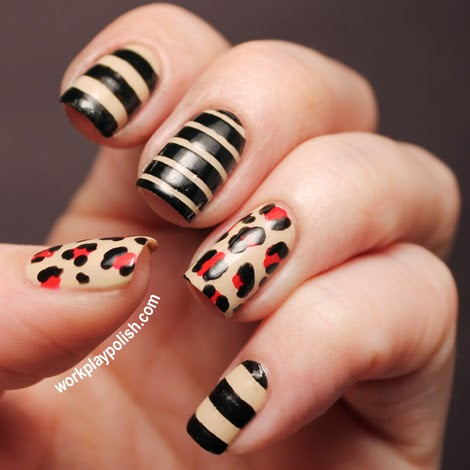 Leopard and Stripes Nail Art with Zoya Cho, Kristi and Raven