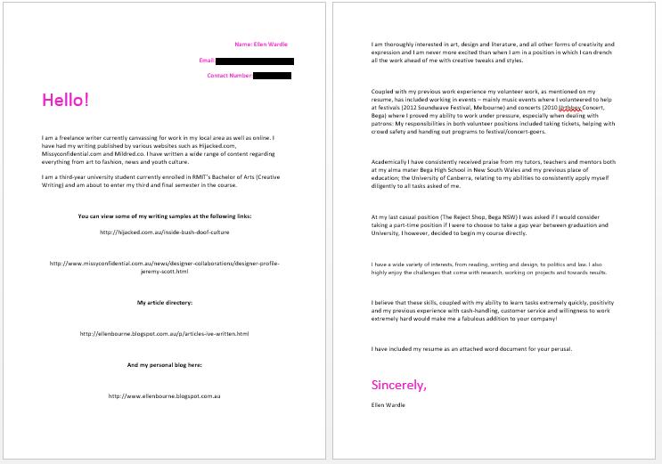 Writing cover letter copywriter