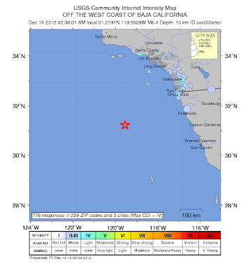 Epicentro terremoto de 6,4 grados Baja Califiornia, 14 de Diciembre 2012