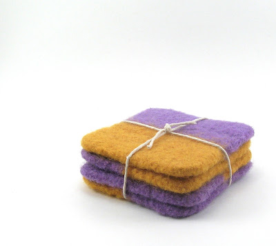 cropped and edited photo of felted coasters