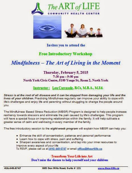 Free Introductory Workshop: Mindfulness – The Art of Living in the Moment