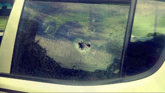 Pictures of kidnapped Chief Olu Falae's bullet ridden pick up Van.