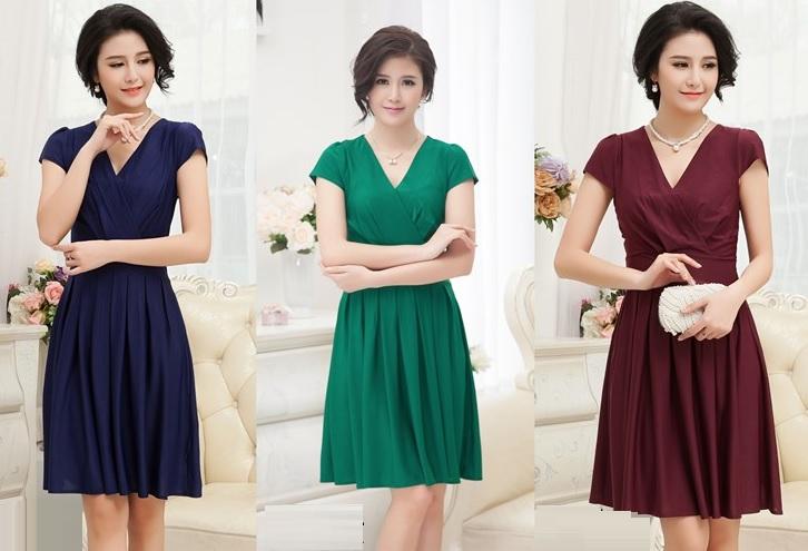Short Sleeve V-Collar Ice Silk Pass Knee Length Dress