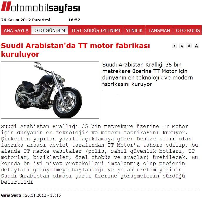 otomobil+sayfas%25C4%25B1 Suudi Arabistanda TT motor fabrikası kuruluyor.