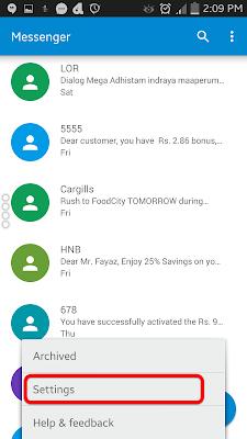 sms  Messenger அமைப்புக்கள்