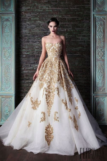 Luxury Designer Ball Wedding Dress White with Golden