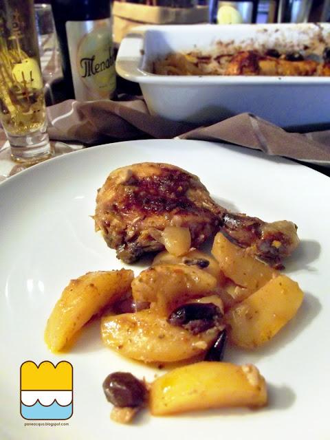 pollo al forno con harissa e limone, patate, olive taggiasche e dragoncello