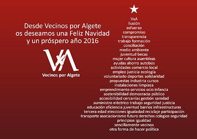 Desde Vecinos por Algete os deseamos una Feliz Navidad y un próspero año 2016