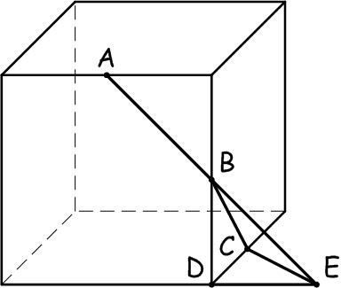 Решение задачи про угол в кубе