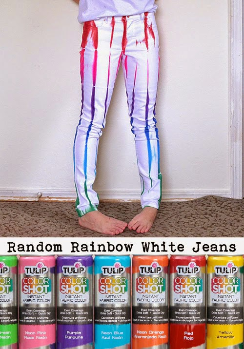 ilovetocreate blog random rainbow white jeans with color. Black Bedroom Furniture Sets. Home Design Ideas