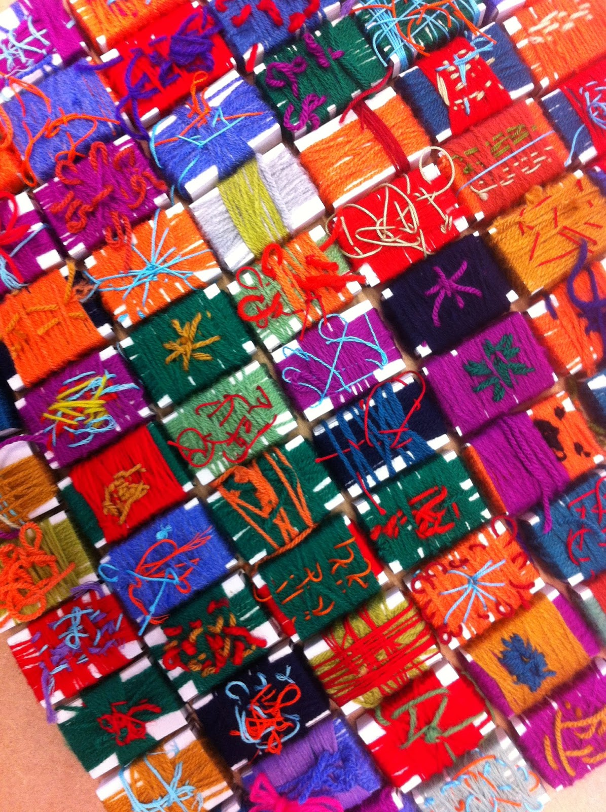Matchbox wrapping textile project Years 1 - 4  Detail of finished boxes