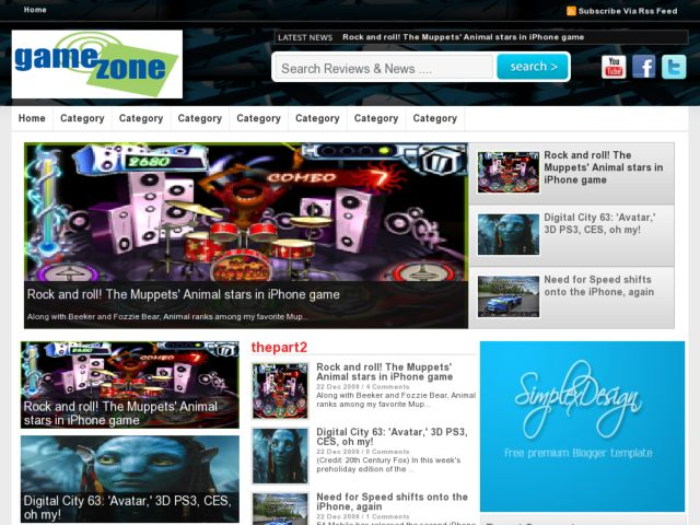 Simplex Game Zone Blogger Template