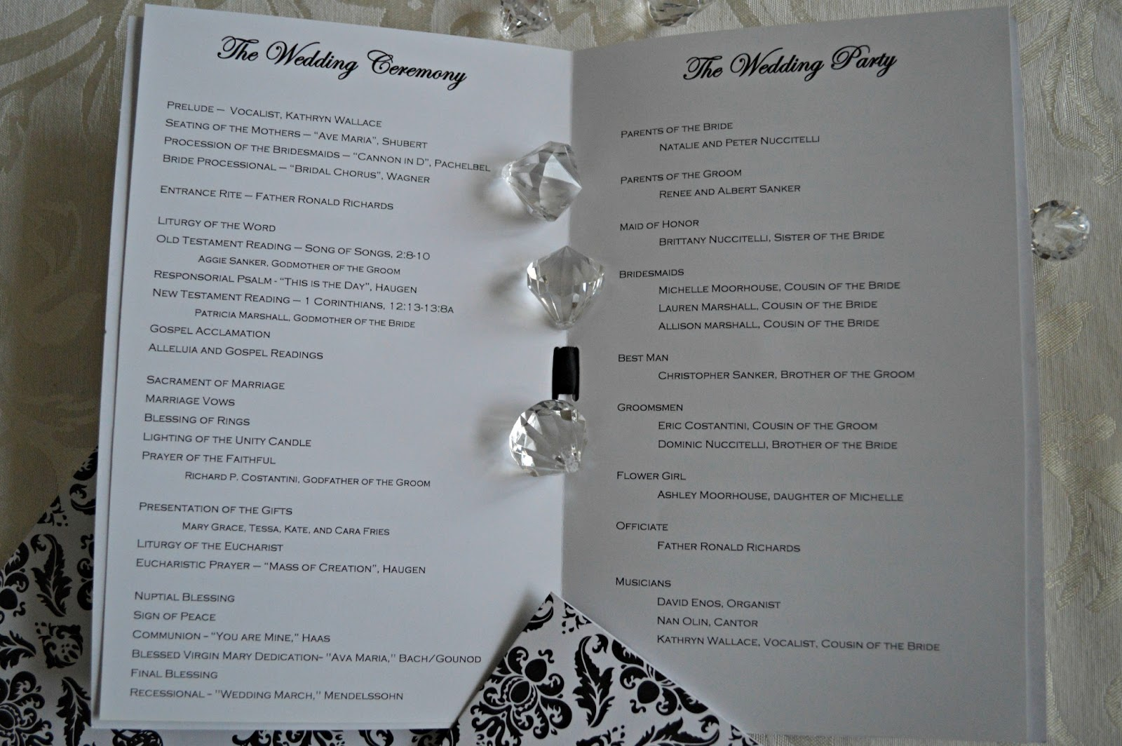 Inspired I Dos: Damask Wedding Programs for Catholic Wedding Mass