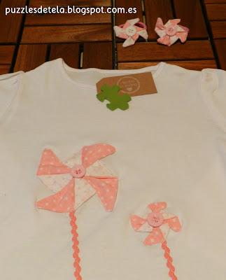 Camisetas patchwork, camisetas niña, patchwork, molinillos, puzzles de tela, camisetas originales, ideas para regalar a niñas,