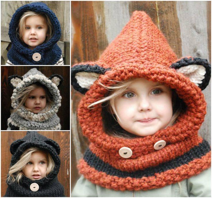 Animal Cowl Knitting Pattern : Gola com Capuz Infantil com Video - Katia Ribeiro Croche Moda e Decoracao
