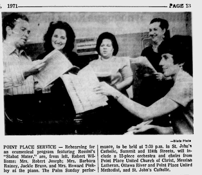 Climbing My Family Tree: Rehearsing for an Ecumenical Program in 1971, Barbara is in the middle