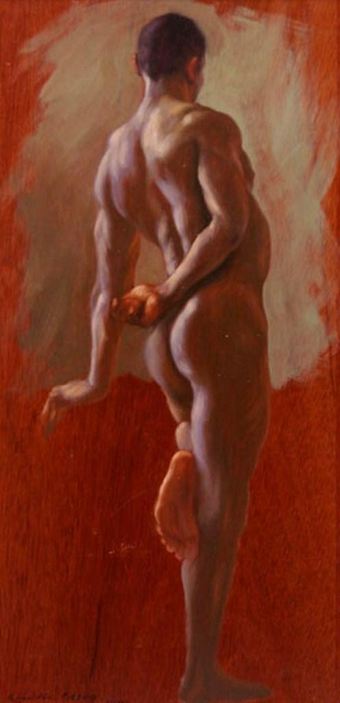 Hombre desnudo en una isla