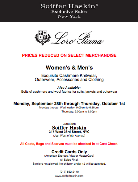 fashionably petite: Loro Piana Sale Update - Prices Reduced