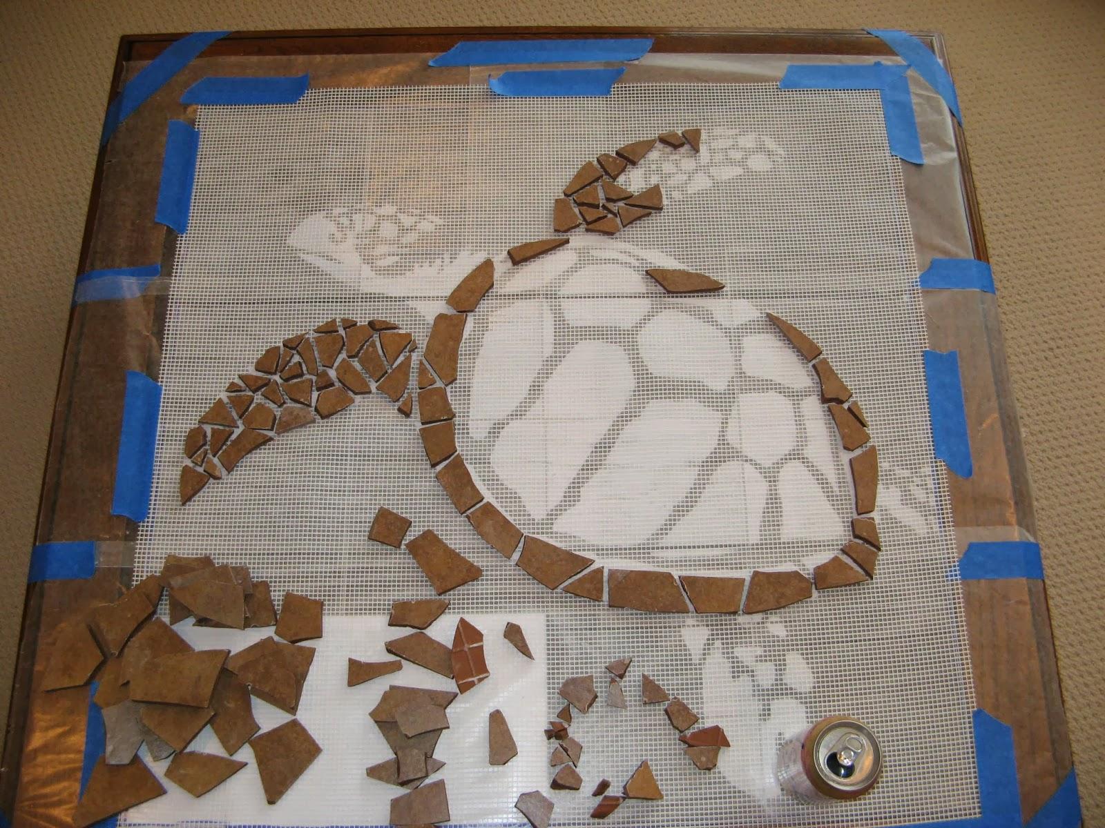 Turtle Mosaic - Broken Ceramic Tiles