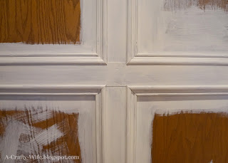 close up of trim work detail priming wood panelled walls | A Crafty Wife