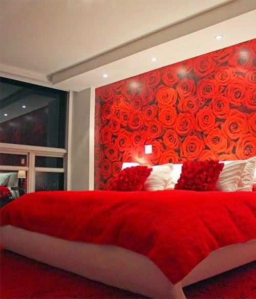 Red Design Romantic bedroom