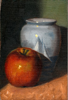 Oil painting of a red apple beside a light blue vase with a picture of a yacht.