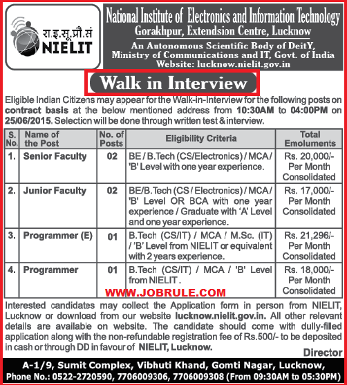 NIELIT Lucknow Latest Contract Basis Faculty & Programmer Jobs Openning June 2015 | Walk-In-Interview