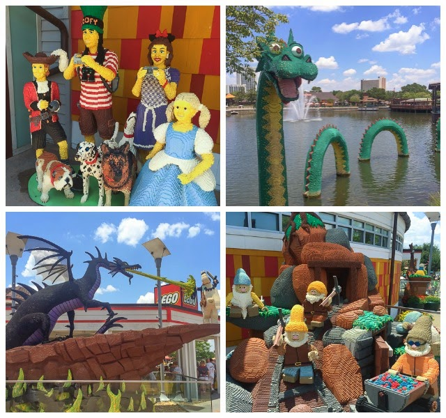 Lego Family, Loch Ness Monster, Sir Lancelot and Dragon, and Snow White and the 7 Dwarfs at Downtown Disney