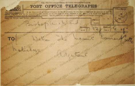 Mobilisation telegram received by the officer commanding 6th Battalion, Durham Light Infantry, 4 August 1914  (D/DLI 2/6/10(208))