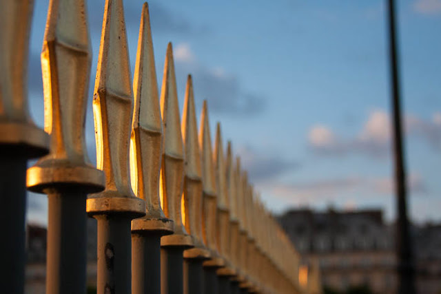 close-up of fence at the Tuileries Gardens and the Louvre