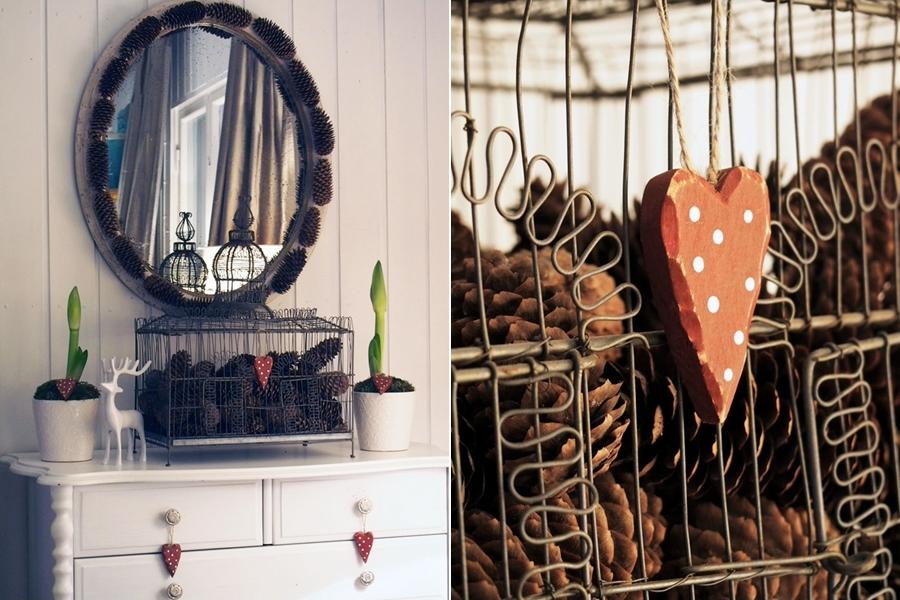 wystrój wnętrz, wnętrza, urządzanie mieszkania, dom, home decor, dekoracje, aranżacje, DIY, zrób to sam, zima, winter, Boże Narodzenie, Christmas, lustro, szyszki, mirror, pine cones