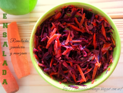 Ensalada de remolacha, zanahoria y manzana