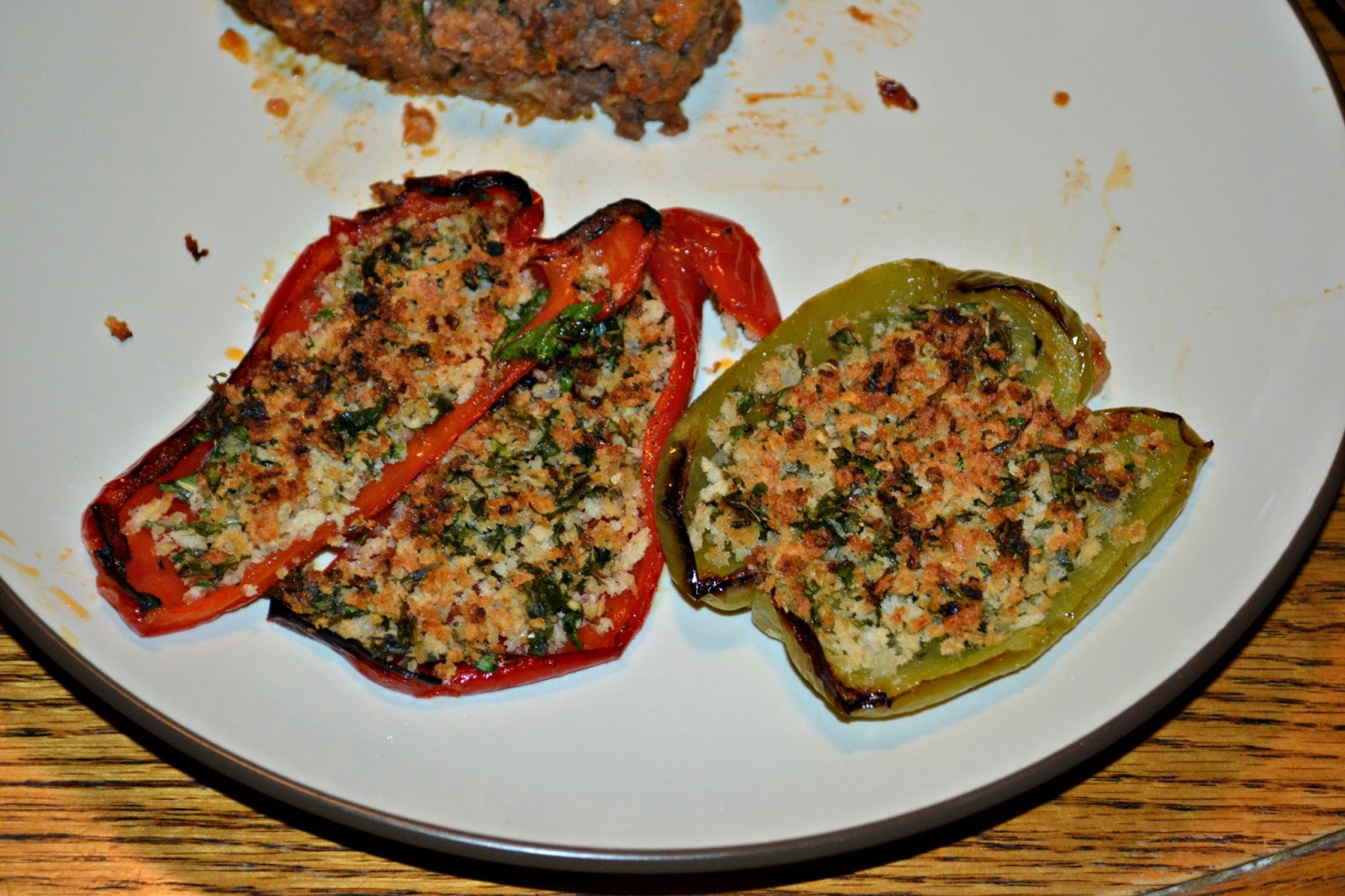 Roasted Peppers with Herbed Breadcrumbs - Hezzi-D's Books and Cooks