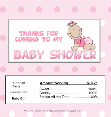 Baby Girl in Pink: Free Printable Chocolate Wrapper.