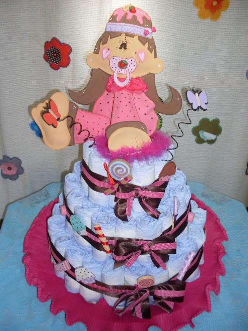bolo de fralda cupcake