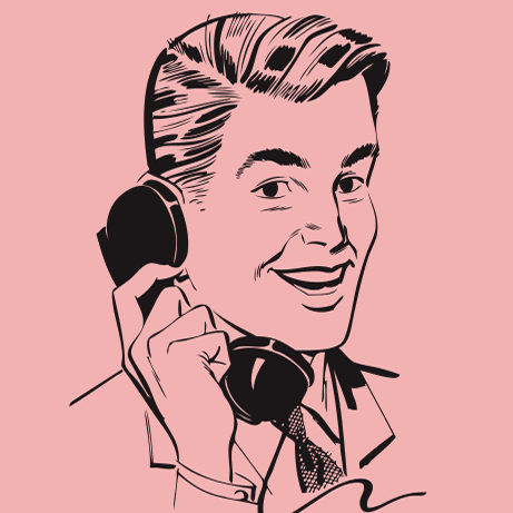 Retro Vector man on phone