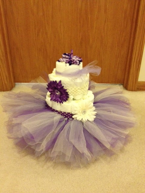 Cake Made Of Diapers For Baby Shower Part - 40: NEWBORN TUTU DIAPER CAKE