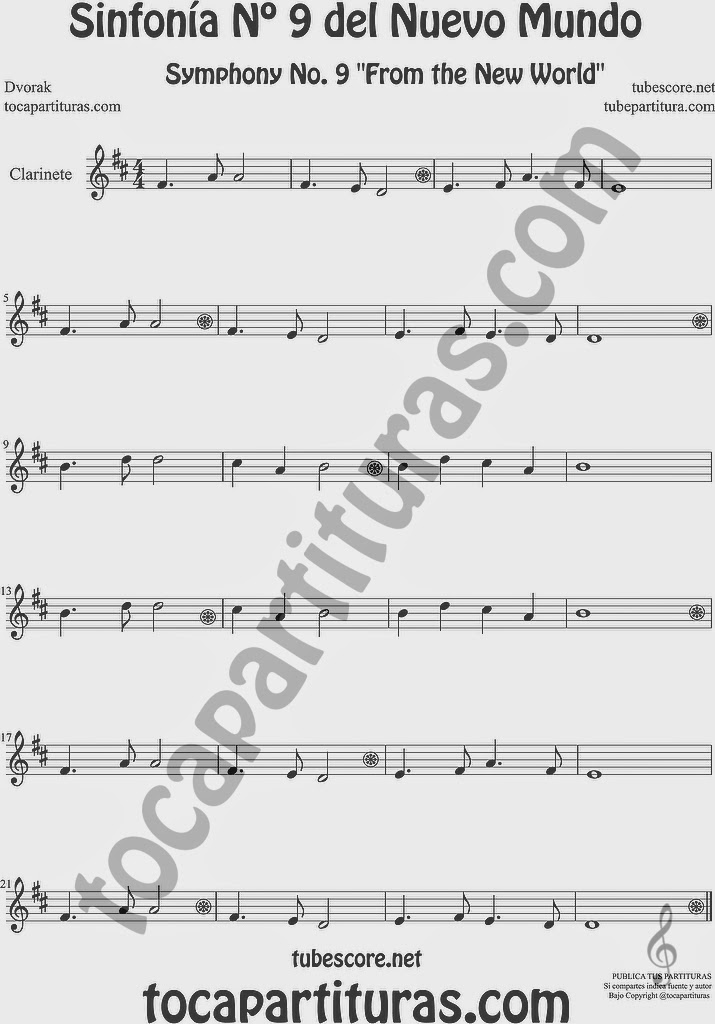 Sinfonía del Nuevo Mundo Partitura de Clarinete Sheet Music for Clarinet Music Score