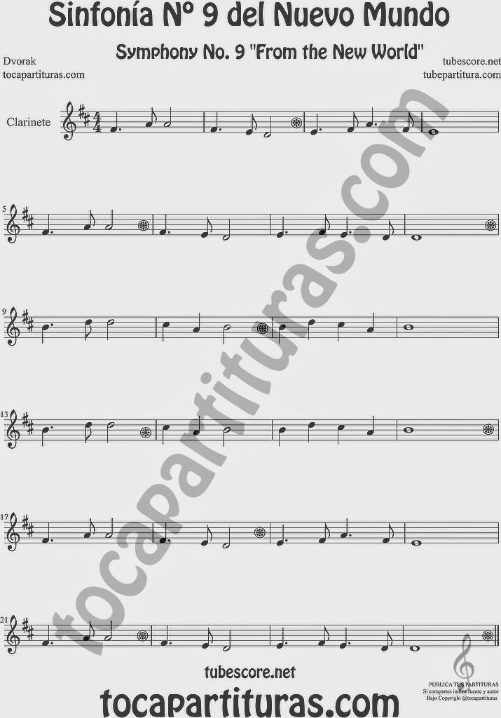 Sinfonía del Nuevo Mundo Partitura de Clarinete Sheet Music for Clarinet Music Score