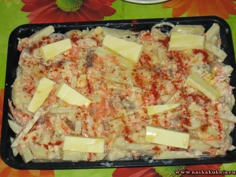 Картофельно-грибная запеканка с овощами