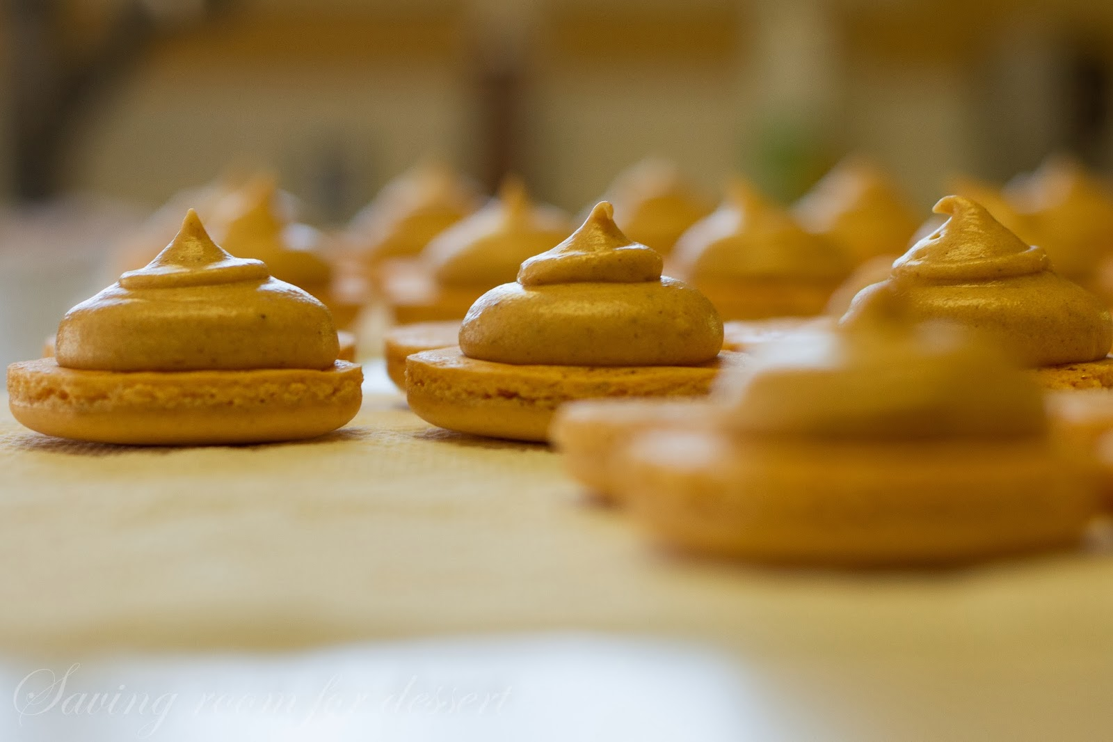 Pumpkin Macarons with Pumpkin Butter Buttercream - Saving Room for ...