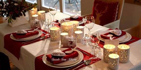 Dicas de decoração de mesa de Natal vermelha e branca