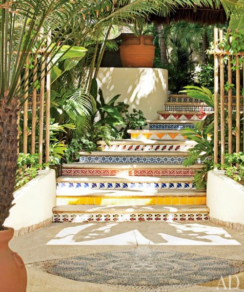mosaic outdoor stairs design