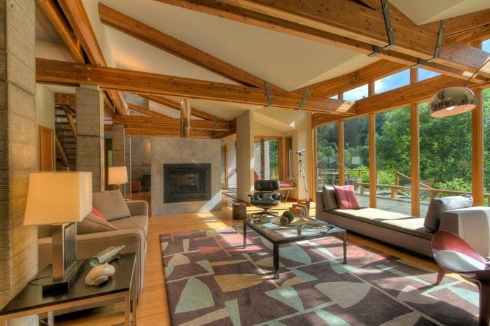 Sala Pequena Rustica Moderna ~ Un salón con mucho espacio, alfombras modernas y muebles de diseño
